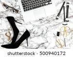 feminine accessories  notebook  ... | Shutterstock . vector #500940172