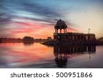 silhouette of temple on the...   Shutterstock . vector #500951866