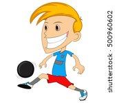 a boy playing soccer cartoon | Shutterstock . vector #500960602