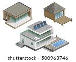 set of modern houses in...