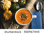 homemade pumpkin soup on the... | Shutterstock . vector #500967445