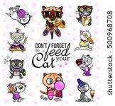 vector set with cat stickers.... | Shutterstock .eps vector #500968708
