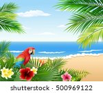 Card With Tropical Beach ...