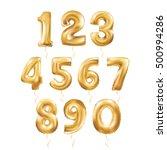 metallic gold letter balloons ... | Shutterstock .eps vector #500994286