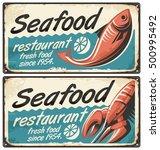 seafood restaurant vintage signs | Shutterstock .eps vector #500995492