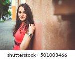 beautiful girl walking city | Shutterstock . vector #501003466