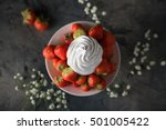fresh strawberries with whipped ... | Shutterstock . vector #501005422