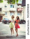 two beautiful girls walking city | Shutterstock . vector #501009808