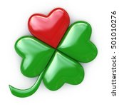 Lucky Red  Green Heart Clover...