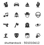 set of movie genres black icons ... | Shutterstock .eps vector #501010612
