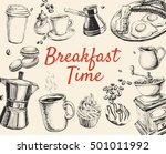 breakfast hand drawn set vector ... | Shutterstock .eps vector #501011992