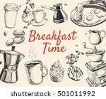 breakfast hand drawn set vector ... | Shutterstock .eps vector #501011992