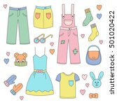 hand drawn clothes set doodles... | Shutterstock .eps vector #501020422