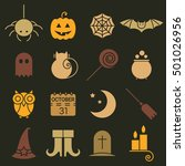 halloween colorful flat icons... | Shutterstock . vector #501026956