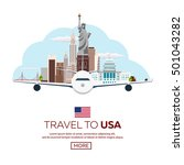 travel to usa  new york poster... | Shutterstock .eps vector #501043282