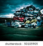 Pile Of Discarded Cars On...