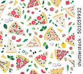 seamless pattern with pizza... | Shutterstock .eps vector #501059932