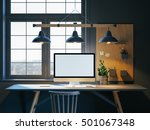 hipster workspace with computer ... | Shutterstock . vector #501067348
