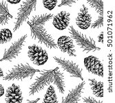 pine cone and fir tree seamless ... | Shutterstock .eps vector #501071962