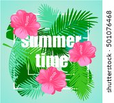 tropical floral vector... | Shutterstock .eps vector #501076468