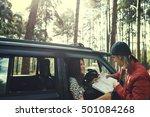 woman adventure get lost... | Shutterstock . vector #501084268