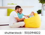 happy family having fun at home.... | Shutterstock . vector #501094822