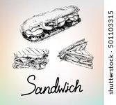 handdrawing sandwich and burger ... | Shutterstock .eps vector #501103315