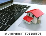 small house on laptop keyboard. ... | Shutterstock . vector #501105505
