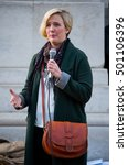 Small photo of London, UK. 15th October 2016. EDITORIAL - Stella Creasy MP speaks at a rally in London, calling on the government to enact Lord Dubs' amendment now,to relocate 3000 child refugees into the UK.