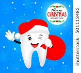 christmas tooth. teeth with... | Shutterstock .eps vector #501113482
