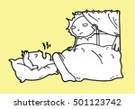 tired lazy man sleep in the bed ... | Shutterstock .eps vector #501123742