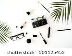 flat lay feminine arrangement... | Shutterstock . vector #501125452