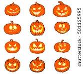 halloween set with pumpkins.... | Shutterstock .eps vector #501125995