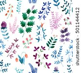 floral watercolor seamless... | Shutterstock . vector #501144412