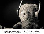 Teddy Bear With Headphones Sit...