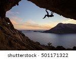 male rock climber climbing... | Shutterstock . vector #501171322
