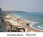 Beach of Tel aviv, Israel - stock photo