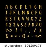 handwritten bold gold font with ...   Shutterstock .eps vector #501209176
