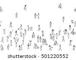 Seamless Banner Of Tiny People...