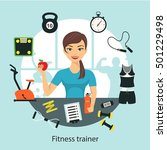fitness woman with sport and... | Shutterstock .eps vector #501229498