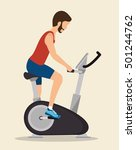 man exercises static bike icon | Shutterstock .eps vector #501244762