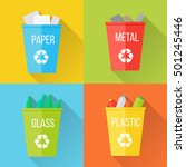 color recycle garbage bins with ... | Shutterstock . vector #501245446
