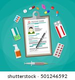 clipboard with patient card and ... | Shutterstock . vector #501246592