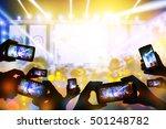 silhouette of hands using smart ... | Shutterstock . vector #501248782