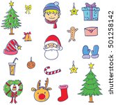 element christmas set doodle... | Shutterstock .eps vector #501258142