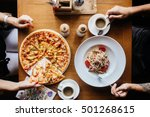 pizza and pasta on a table with ... | Shutterstock . vector #501268615