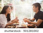 asian people eating at the... | Shutterstock . vector #501281002