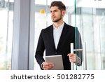 serious young businesman... | Shutterstock . vector #501282775