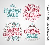 vector set with christmas... | Shutterstock .eps vector #501294952