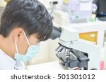 scientist with equipment and... | Shutterstock . vector #501301012
